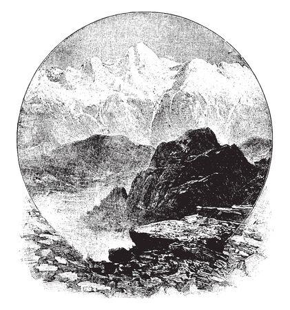 Las montañas del Himalaya, que son las montañas más altas del mundo, se elevan abruptamente desde las llanuras del norte de Hindustan, línea vintage de dibujo o ilustración de grabado.