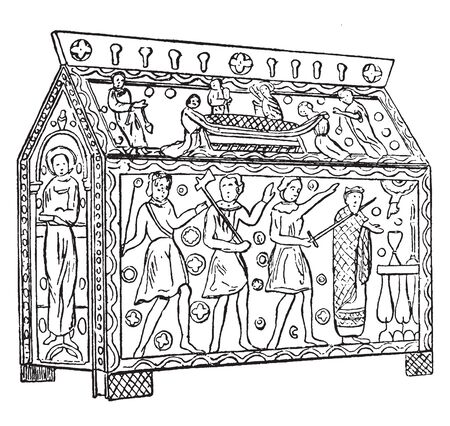 Shrine of Etherbert was the King of the East Saxons and formerly on the high altar of Hereford cathedral, vintage line drawing or engraving illustration.