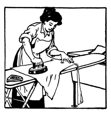 Eine Frau, die Kleidung bügelt, Vintage-Linienzeichnung oder Gravurillustration