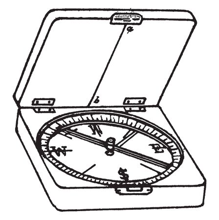 Box compass as well as a circle graduated in degrees from zero to 360 degrees, vintage line drawing or engraving illustration. Çizim