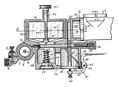 Carburetor is a device that blends air and fuel for an internal combustion engine, vintage line drawing or engraving illustration.
