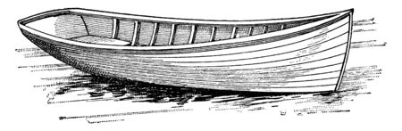 Canoe is a lightweight narrow boat typically pointed at both ends and open on top, vintage line drawing or engraving illustration.