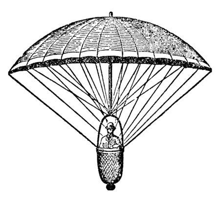 Garnerin Parachute war ein französischer Ballonfahrer und der Erfinder des rahmenlosen Fallschirms, der Vintage-Linienzeichnung oder der Gravurillustration. Vektorgrafik