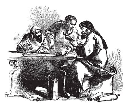 Three men sitting at table and reading paper scroll, vintage line drawing or engraving illustration