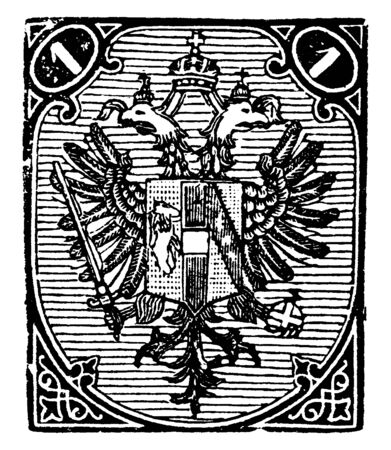 Bosnia 1 N Stamp in 1879 which designs feature the coat of arms and numeral tablets in the upper corners, vintage line drawing or engraving illustration.