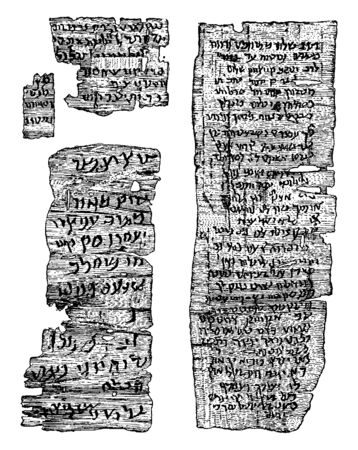 Ancient Hebrew Manuscript which was discovered in Egypt, vintage line drawing or engraving illustration.