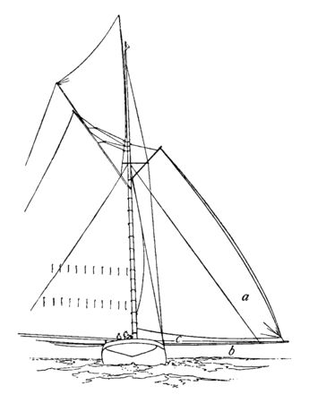 Shadow Sail is a sail designed to take the place of the regular jib headed spinnaker, vintage line drawing or engraving illustration. 向量圖像