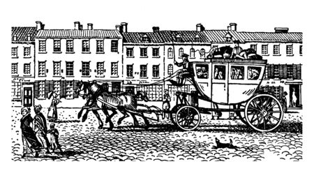 An Eighteenth Century Stagecoach is a type of four wheeled closed coach used to carry passengers and goods, vintage line drawing or engraving illustration.