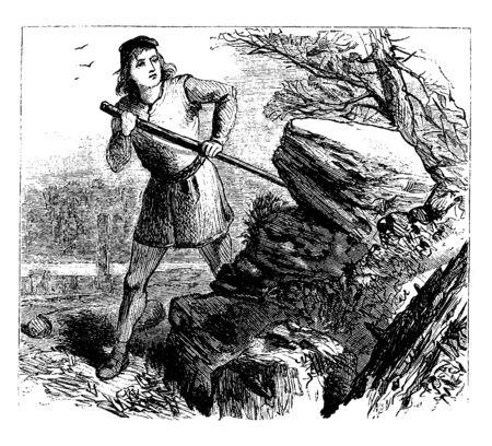 A man is digging, vintage line drawing or engraving illustration