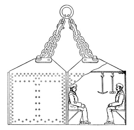 Diving Bell also known as a wet bell is a cable suspended airtight chamber and open at the bottom like a moon pool structure, vintage line drawing or engraving illustration.