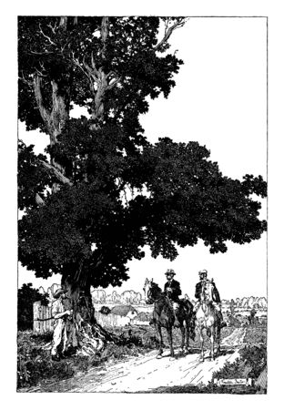 Two men riding on horses and another man standing under tree, vintage line drawing or engraving illustration
