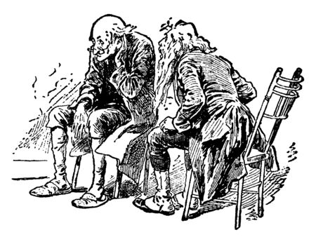 Two men sitting on chairs and talking, vintage line drawing or engraving illustration