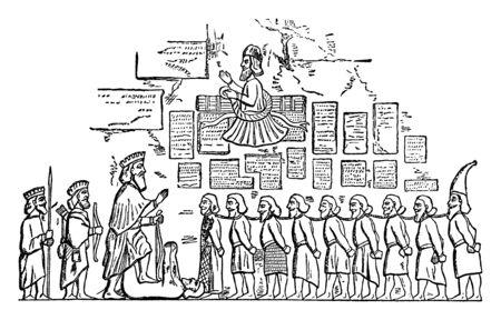 This illustration represents Captive Insurgents Brought before Darius, vintage line drawing or engraving illustration. Ilustração