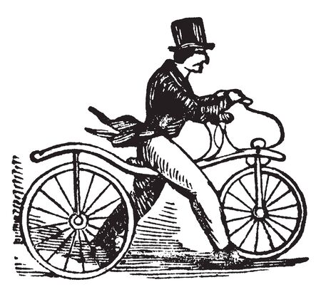 Bicyle is a form of velocipede or highly built wheeled vehicle propelled by the person who occupies it, vintage line drawing or engraving illustration.