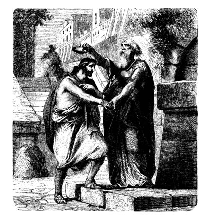 Saul Anointed by Samuel was anointed by the prophet Samuel, vintage line drawing or engraving illustration.