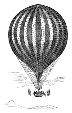 Vauxhall Balloon is a hot air balloon invented by Charles Green used to travel from London to Weilburg, vintage line drawing or engraving illustration. Иллюстрация