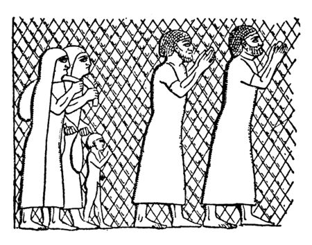 Prisoners of Lachish is the name given to the Assyrian siege and conquest of the town of Lachish in 701 BC, vintage line drawing or engraving illustration. Archivio Fotografico - 133251331