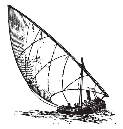 Boat with Lateen sail is a triangular sail extended on a yard which is slung one quarter from the lower end to a mast, vintage line drawing or engraving illustration. Stock Illustratie