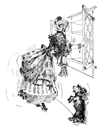 A woman looking out of window and dog standing near her, vintage line drawing or engraving illustration Vectores