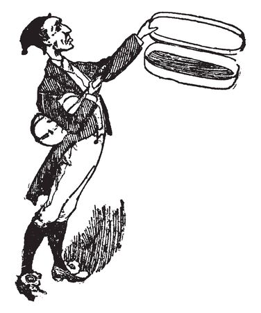 A man with his fiddle, vintage line drawing or engraving illustration