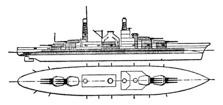 Massachusetts Battleship United States Navy was used during the World War II in the Pacific Ocean, vintage line drawing or engraving illustration.