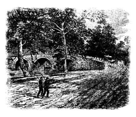 Burnside Bridge is a landmark on the Civil War Antietam National Battlefield near Sharpsburg northwestern Maryland, vintage line drawing or engraving illustration.
