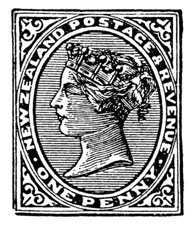 This image represents New Zealand One Penny Stamp in 1882, vintage line drawing or engraving illustration.