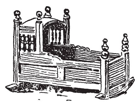Cradle of a Pilgrim relics which consists of the physical remains of a saint ,vintage line drawing or engraving illustration. 일러스트