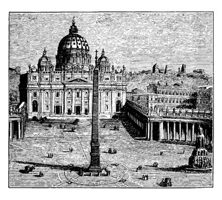 St Peter Church and Vatican Palace in Rome which is the official residence of the Pope in the Vatican City, vintage line drawing or engraving illustration. Stock Illustratie