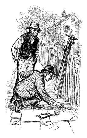 Two men drawing on sidewalk, vintage line drawing or engraving illustration Stock Vector - 132832378