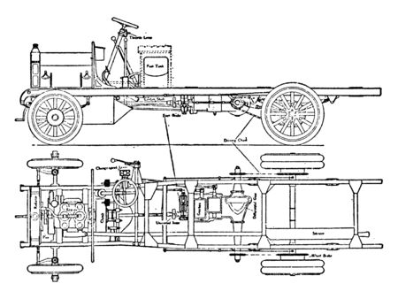 This image represents Halley Van or Lorry with Internal Combustion Vehicle Side and Chassis View, vintage line drawing or engraving illustration.