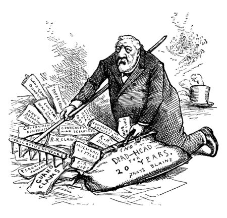 A man collecting his past record, vintage line drawing or engraving illustration