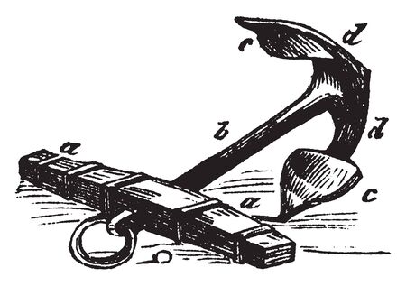 Anchor which is an instrument used for retaining a ship in a particular spot, vintage line drawing or engraving illustration.