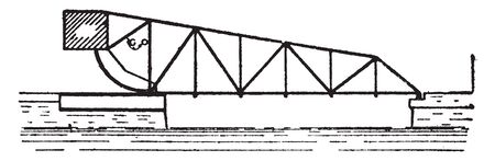 Bridge Scherzer Single Leaf Bascule Bridge is a moveable bridge with a counterweight that continuously balances a span, vintage line drawing or engraving illustration. Vectores