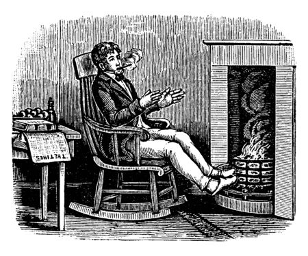 A man sitting on chair near fireplace, vintage line drawing or engraving illustration Illustration