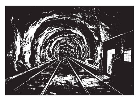 Hoosac Tunnel lit by glow lamps after the plan of the Marr Construction Company, vintage line drawing or engraving illustration.