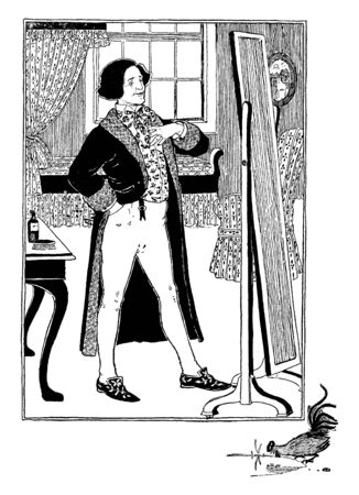 A man standing in front of the mirror and looking at mirror, vintage line drawing or engraving illustration