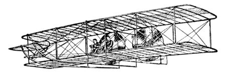 L'expérience de vol la plus réussie de l'avion des frères Wright qui, en 1908, a fait de nombreuses ascensions réussies, un dessin de ligne vintage ou une illustration de gravure.