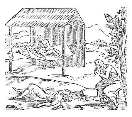 Hispaniola which is an image of people curing the sick in Hispaniola, vintage line drawing or engraving illustration.
