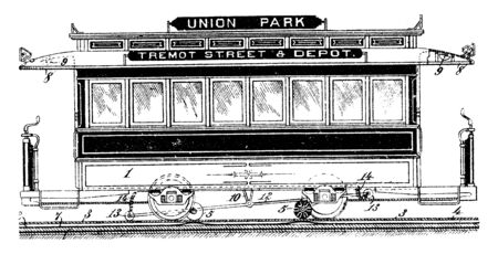 Union Park Railway Car on a Rail Transport System is a vehicle that is used for the carrying of cargo or passengers, vintage line drawing or engraving illustration. Illusztráció