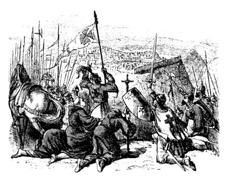 Crusaders were a series of military campaigns of a religious character waged by much of Christian Europe against external and internal opponents, vintage line drawing or engraving illustration.