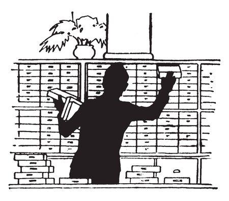 A man putting boxes on shelves, vintage line drawing or engraving illustration