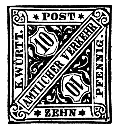 Wrtemberg Zehn Pfennig Official Stamp in 1881 which is a foreign official postage, vintage line drawing or engraving illustration. Иллюстрация