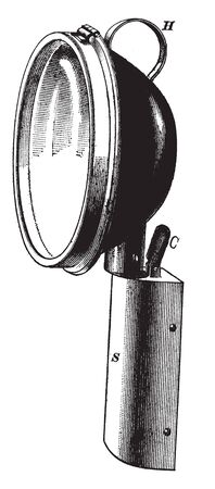 Hood Light that would typically be seen on a trolley in the early twentieth century, vintage line drawing or engraving illustration.
