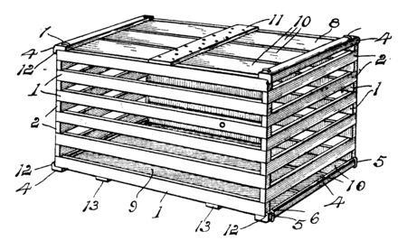 Wooden Crate such as a slatted wooden case used for storing or shipping, vintage line drawing or engraving illustration. 向量圖像