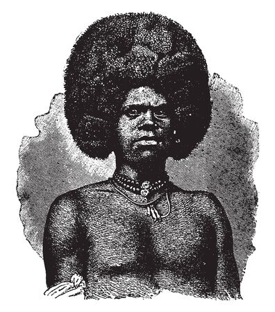 Feejee Chief is the leader of a tribe of cannibals in Polynesia, vintage line drawing or engraving illustration. Çizim