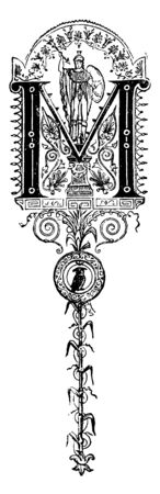 A decorative capital letter M with man holding shield and spear, bird underneath, vintage line drawing or engraving illustration Illustration
