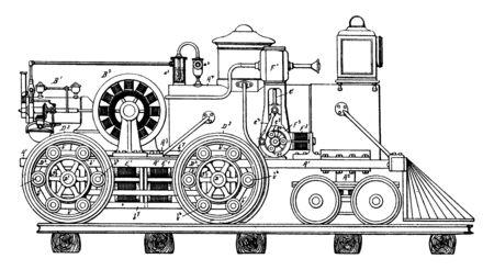 Elektrisch aangedreven voertuig dat gebruikmaakt van elektrische motoren, vintage lijntekening of gravure illustratie.