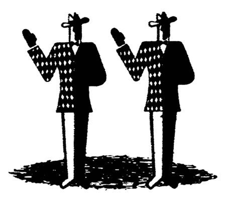 Two men taking oath with their right hands up, vintage line drawing or engraving illustration