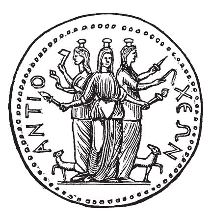 A medal of Antioch which consists of three goddess, vintage line drawing or engraving illustration 向量圖像